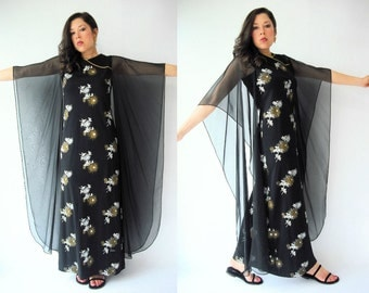 SALE...70's Vintage Alfred Shaheen Asian Cheongsam Angel Sleeve Dress / Kimono Sleeve / Floral Print / Long Maxi Length