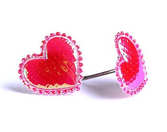 Red garnet shiny iridescent heart fabric hypoallergenic stud earrings READY to ship (354) - Flat rate shipping