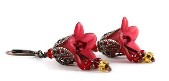 Sale Clearance 20% OFF - Red lily flower and antique copper leverback earrings READY to ship (166)
