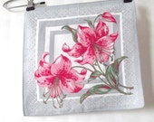Bold Beautiful Vintage 1950s 1960s Bright Pink and Gray Stargazer Lily Hankie Handkerchief Hanky