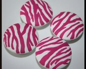 Pink and White Zebra Print Knobs, Dresser Knobs, Drawer Knobs, Cabinet Knobs-FREE Gift Wrap