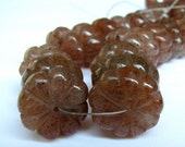 ON SALE Strawberry Quartz Rondelles, Carved Flower Melon beads, Full strand of Large beads (8w40)