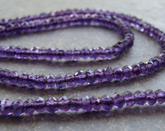 African Amethyst Faceted Rondelles - purple Amethyst - full strand 13 inches of 3.5mm gemstone beads (11m8)