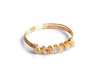 Tiny 6 Stone Light Yellow Jonquil AB2X Gold Wire Wrapped Stackable Ring