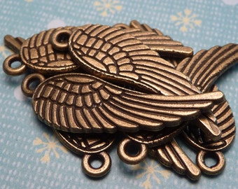 Bronze Metal Wing Charms 28mm - 2pc