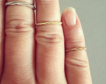 Recycled Guitar String Knuckle Ring in YOUR CHOICE of acoustic brass, acoustic bronze or electric