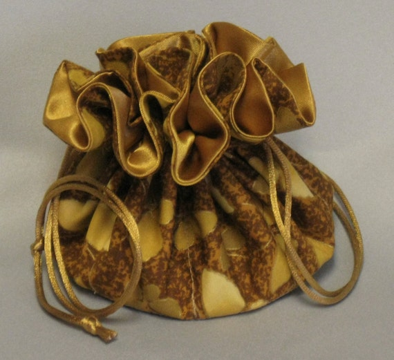 Jewelry Travel Tote---Drawstring Organizer Pouch---Gold Butterflies---Medium Size