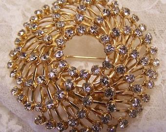 Large Vintage Swirl Brooch, Clear Rhinestone Pin, Gold Tone Round Circle Pin, Bridal Wedding Estate Costume Statement Jewelry