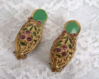 Vintage Gold Shoe Earring Clip On, Brass Shoe Collectible Antique Estate Wedding Jewelry, Multi Colored Filigree Purple Rhinestone