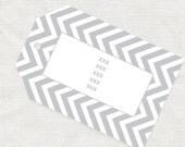 chevron light grey gift tags - printable file - editable PDF