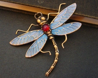New, Dragonfly Jeweled Brooch Pin Or Necklace Pendant, Iridiscent wings and Ruby Red Reflective Jewel, Custom Handmade, Metal Bonded Bar Pin