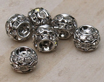 10 pcs. Stacked Metal Barrel Rhinestone Beads in Platinum with Clear Rhinestones 10mm x 9mm