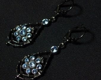 Elegant Pierced Dangle Earrings in Blue & Black