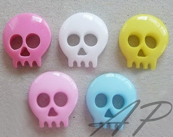 10pc Tiny 15mm Skull Flatback Charm Set in Cherry Pink, Pink, Blue, Yellow and White  for Jewelry and  Accessories, Stationary