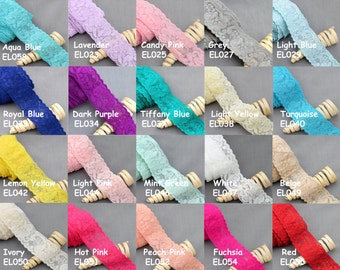 "5 Yards Elastic Lace 1.5"" Stretch Lace Elastic Lace Trim Elastic Headband Bridal Garter Baby Hairbow Tie Wholesale EL998"