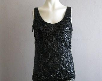 60s black sequins sweater top FISH SCALES design size medium