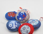 Felt Ornaments - Home Decor - Pincushions - Colorful - Hand Sewn - Embroidered - Patriotic