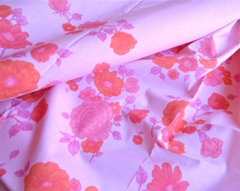 Vintage Bed Sheet - Pink and Orange Roses on Pink - Twin Flat NOS