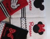 Mickey and Minnie Mouse Towel Sets, Red Towel, Black Towel, Mickey Glove, Minnie Bow