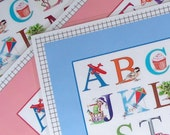 Alphabet Placemat for Kids, Grandchild, Toddler Table plastic wipe clean