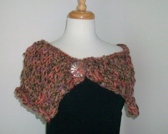 Chenille and wool shawl Amber shoulder wrap  Bronze capelet  Vintage MOP button