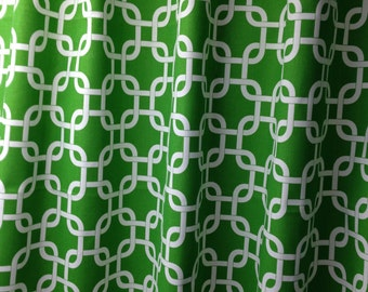 "Two 50"" wide custom made curtain panels drapes, gotcha chain link callie emerald green white"