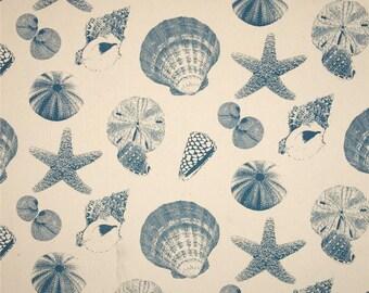 Pair (2 panels) designer drapes, Shells pacific natural cotton