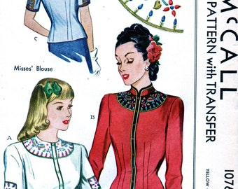 UNCUT * 1940s Vintage McCall Pattern 1076 - GLAMOROUS  Set of Blouses & Jacket  with Embroidery Transfers // Size 14