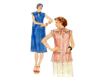 1970s Loose Dress or Top Pattern Tie Collar Band Sleeves Summer Top or Dress Butterick 4775 Size Medium Vintage Sewing Pattern