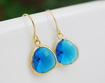 Capri Blue Glass drop earrings dangle Earrings - Bridesmaid gift, Bridesmaid Earrings, Bridesmaid Jewelry, Wedding, Christmas gift for her