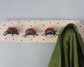 Upcycled Toy Wall Peg Rack with Ladybug Clothes Hooks