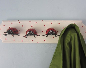 Upcycled Toy Wall Peg Rack with Ladybug Clothes Hooks