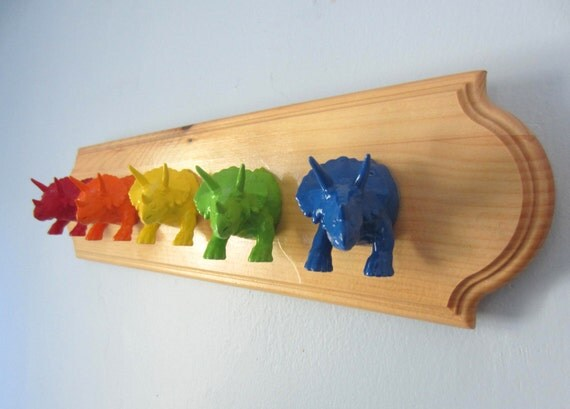 Upcycled Toy Wall Peg Rack with Rainbow Dinosaur Clothes Hooks