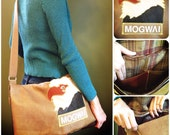 MOGWAI (The Hawk Is Howling) Handmade Leather and Fabric Messenger Bag (laptop bag) - stylized leather applique patch