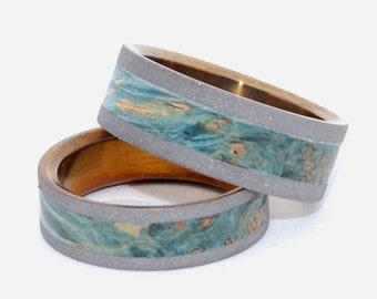 wedding rings, titanium rings, wood rings, mens rings, Titanium Wedding Bands, Eco-Friendly Wedding Rings, Wedding Rings - SWEET MOSS SET