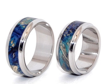 Wooden Wedding Rings, titanium ring, titanium wedding rings, Eco-friendly rings, mens ring, womens rings - LOVE'S PULSE and WHISPERS set
