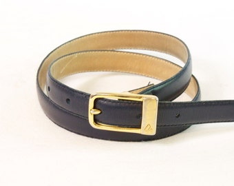 Vintage Blue skinny Leather Belt by Liz Claiborne size medium