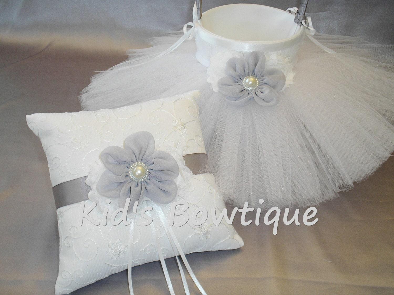 Flower Girl Baskets And Matching Ring Bearer Pillows : Wedding flower girl basket with matching ring bearer pillow