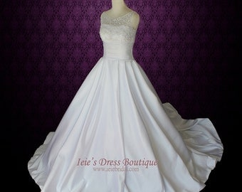 Modest Wedding Dress Sleeveless Princess Ball Gown Wedding Dress | Melanie