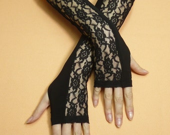 Elegant Armwarmers in Black, Romantic Evening Gloves with Lace for Her, Retro, Gothic, Fingerless, Tattoo Covers, 20's
