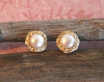 Pearl Stud Earrings - 18k Gold Plated Earrings - Gold Stud Earrings   Handcrafted Jewelry