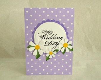 Happy Wedding Day Card, Lavender Wedding Card, Polka Dot Wedding Card, Spring Wedding Card
