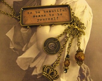 """Handmade Assemblage Necklace & Earrings, """"Beautiful You"""", Junk Gypsy Style, Inspirational, Charm Necklace, Sale"""