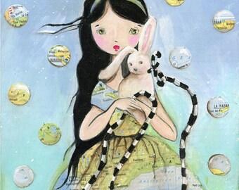 Mr. Rabbit Whimsical Girl Art Print