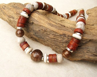 Earthy Brown Cream Tribal Necklace, Rustic Trade Beads Choker, African Trade Beads Sterling Silver SALE