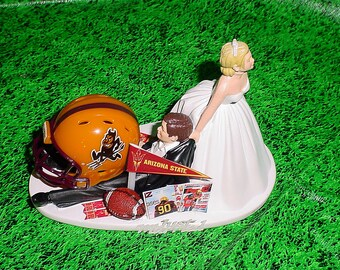 Arizona State Univerity Sun Devils Football ASU Groom Sports Fan Wedding Cake topper-College Anxious Bride-Y1