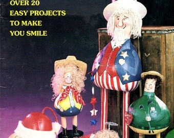 Pot Bellies Parade Gourd Figures Painted Uncle Sam Cowgirl Santa Claus Angel Rabbit Egg Elephant Doll Containers Craft Pattern Leaflet