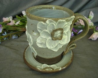 Ceramic Teacup and Saucer with Poppy Flowers in Summer White and Black Mountain