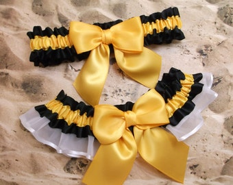 Black Satin Gold Satin White Organza Wedding Bridal Garter Toss Set