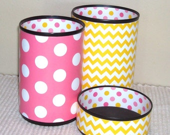Pink and Yellow Cute Desk Accessories - Pink Pencil Holder - Chevron and Polka Dots Office Decor - Dorm Decor - Graduation Gift for Teen 750